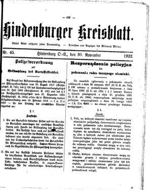 Zabrzer (Hindenburger) Kreisblatt vom 30.11.1922