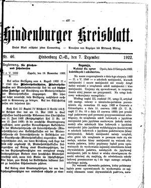 Zabrzer (Hindenburger) Kreisblatt vom 07.12.1922