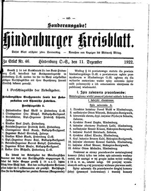Zabrzer (Hindenburger) Kreisblatt vom 11.12.1922