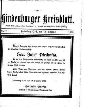 Zabrzer (Hindenburger) Kreisblatt vom 14.12.1922