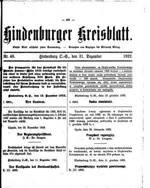 Zabrzer (Hindenburger) Kreisblatt on Dec 21, 1922