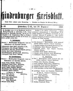 Zabrzer (Hindenburger) Kreisblatt vom 28.12.1922