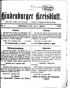 Zabrzer (Hindenburger) Kreisblatt vom 04.01.1923