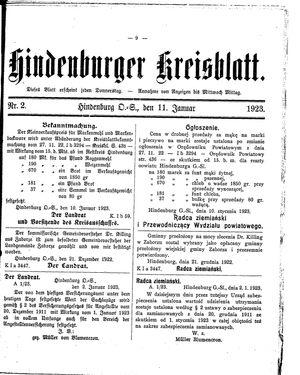 Zabrzer (Hindenburger) Kreisblatt vom 11.01.1923