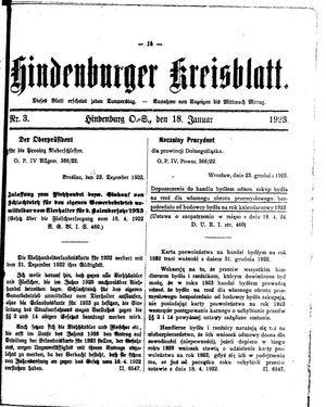 Zabrzer (Hindenburger) Kreisblatt vom 18.01.1923