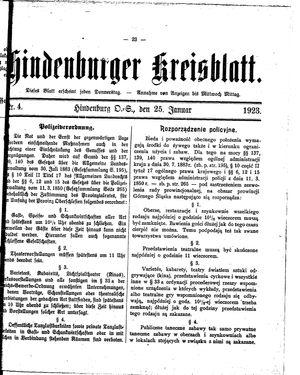Zabrzer (Hindenburger) Kreisblatt vom 25.01.1923