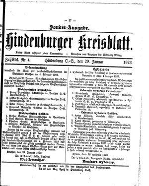 Zabrzer (Hindenburger) Kreisblatt on Jan 29, 1923