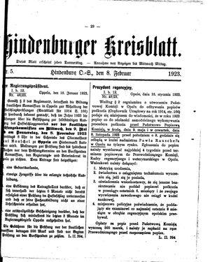 Zabrzer (Hindenburger) Kreisblatt vom 08.02.1923