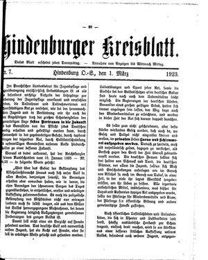 Zabrzer (Hindenburger) Kreisblatt on Mar 1, 1923