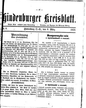 Zabrzer (Hindenburger) Kreisblatt on Mar 8, 1923