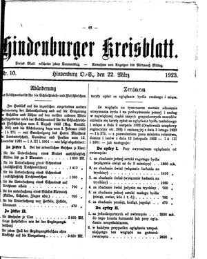 Zabrzer (Hindenburger) Kreisblatt vom 22.03.1923