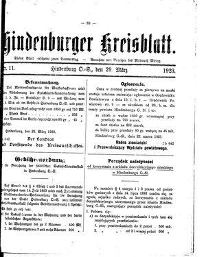 Zabrzer (Hindenburger) Kreisblatt vom 29.03.1923