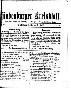 Zabrzer (Hindenburger) Kreisblatt on Apr 5, 1923
