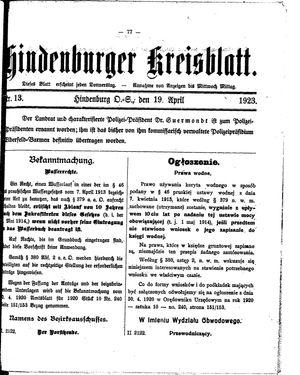 Zabrzer (Hindenburger) Kreisblatt vom 19.04.1923