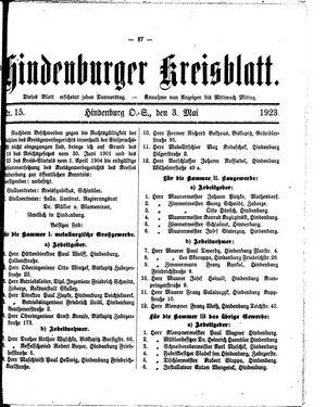 Zabrzer (Hindenburger) Kreisblatt vom 03.05.1923