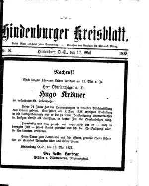 Zabrzer (Hindenburger) Kreisblatt vom 17.05.1923