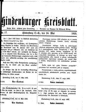 Zabrzer (Hindenburger) Kreisblatt vom 24.05.1923