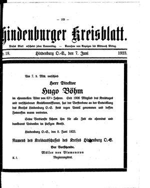 Zabrzer (Hindenburger) Kreisblatt vom 07.06.1923
