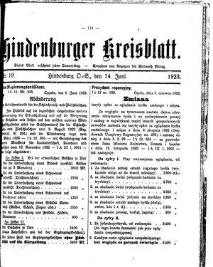 Zabrzer (Hindenburger) Kreisblatt vom 14.06.1923
