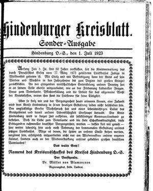 Zabrzer (Hindenburger) Kreisblatt vom 01.07.1923