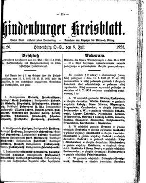 Zabrzer (Hindenburger) Kreisblatt on Jul 5, 1923