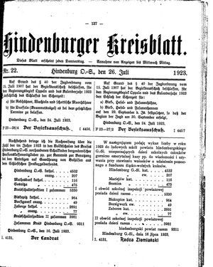 Zabrzer (Hindenburger) Kreisblatt vom 26.07.1923