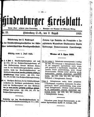 Zabrzer (Hindenburger) Kreisblatt vom 02.08.1923