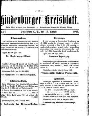 Zabrzer (Hindenburger) Kreisblatt vom 16.08.1923