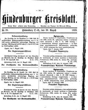 Zabrzer (Hindenburger) Kreisblatt vom 23.08.1923