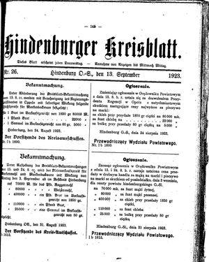 Zabrzer (Hindenburger) Kreisblatt vom 13.09.1923