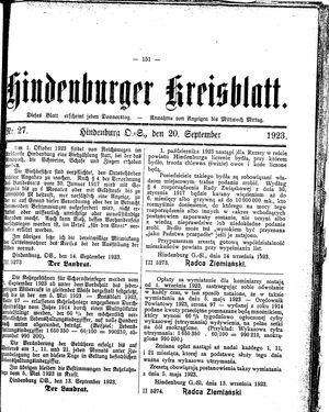 Zabrzer (Hindenburger) Kreisblatt vom 20.09.1923