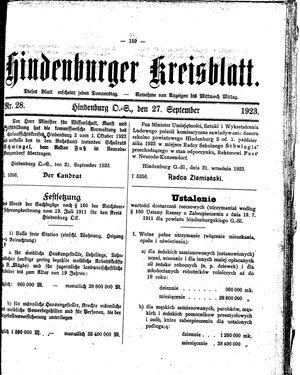Zabrzer (Hindenburger) Kreisblatt vom 27.09.1923