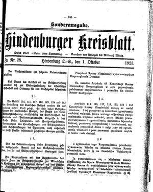 Zabrzer (Hindenburger) Kreisblatt vom 01.10.1923