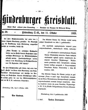 Zabrzer (Hindenburger) Kreisblatt vom 11.10.1923