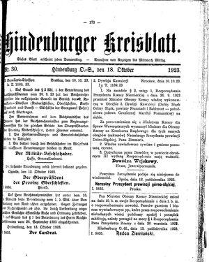 Zabrzer (Hindenburger) Kreisblatt vom 18.10.1923