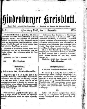 Zabrzer (Hindenburger) Kreisblatt vom 01.11.1923