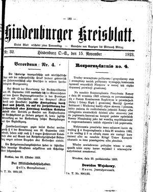 Zabrzer (Hindenburger) Kreisblatt vom 15.11.1923