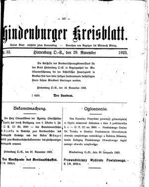 Zabrzer (Hindenburger) Kreisblatt vom 29.11.1923