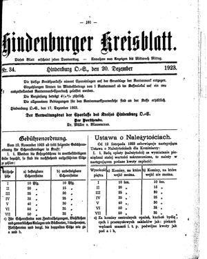 Zabrzer (Hindenburger) Kreisblatt vom 20.12.1923