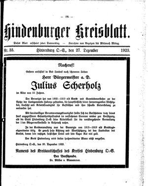Zabrzer (Hindenburger) Kreisblatt vom 27.12.1923