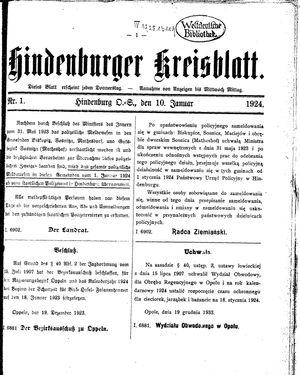 Zabrzer (Hindenburger) Kreisblatt vom 10.01.1924