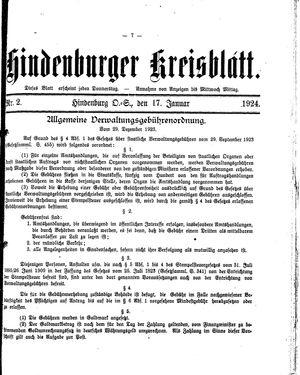 Zabrzer (Hindenburger) Kreisblatt vom 17.01.1924