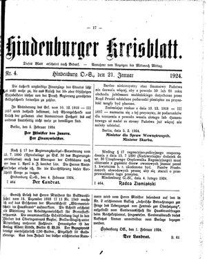 Zabrzer (Hindenburger) Kreisblatt on Feb 21, 1924