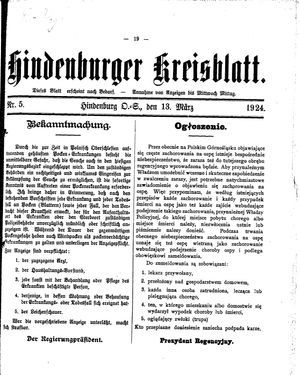 Zabrzer (Hindenburger) Kreisblatt vom 13.03.1924