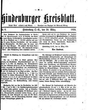 Zabrzer (Hindenburger) Kreisblatt vom 24.03.1924