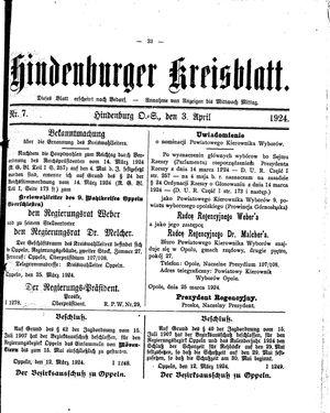 Zabrzer (Hindenburger) Kreisblatt vom 03.04.1924