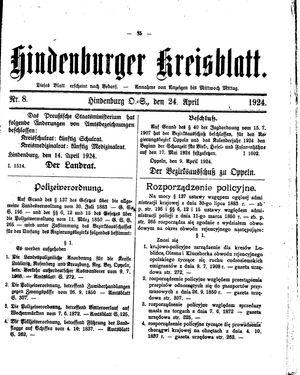 Zabrzer (Hindenburger) Kreisblatt vom 24.04.1924