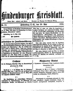 Zabrzer (Hindenburger) Kreisblatt vom 23.05.1924