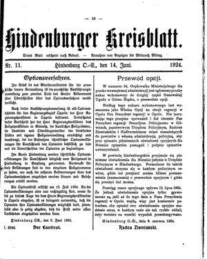 Zabrzer (Hindenburger) Kreisblatt vom 14.06.1924
