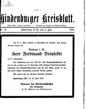 Zabrzer (Hindenburger) Kreisblatt on Jul 2, 1924